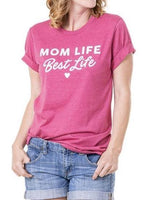 Mom T-shirts • Mom life is the best life • Blue - Pink - Gray - Stacy's Pink Martini Boutique