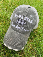 Hats, shirts, necklaces { Mama bear hair don't care. Gray with black and white buffalo plaid bear. Embroidered. Necklaces silver with option of bears. T-shirts XS - XL. - Stacy's Pink Martini Boutique