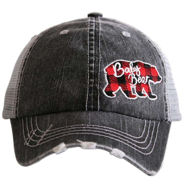 Baby bear kids hat | Gray trucker cap adjustable velkro | Red and black buffalo plaid bear | Unisex boys and girls - Stacy's Pink Martini Boutique