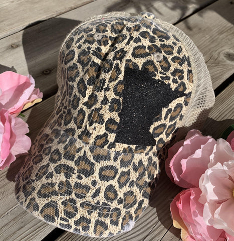 Leopard print state hats Minnesota or any state Baseball trucker cap animal print - Stacy's Pink Martini Boutique