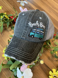 Beach bum hats | Embroidered distressed adjustable gray trucker cap | Teal van with surfboard - Stacy's Pink Martini Boutique