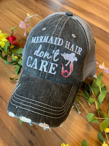 Hats { Mermaid hair don't care }  { Mermaid club } Embroidered distressed trucker cap with adjustable Velcro and hole for pony. Gray with pink or teal mermaid. - Stacy's Pink Martini Boutique