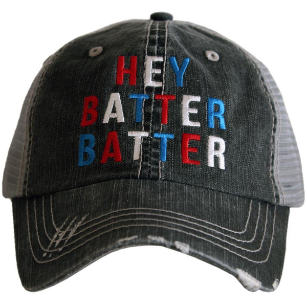 Baseball hats! Hey batter batter | Embroidered trucker caps - Stacy's Pink Martini Boutique