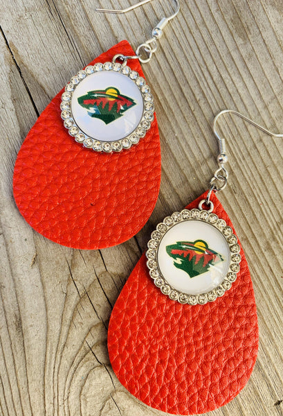 Earrings { Minnesota Wild } Hockey. Red glitter. Gold glitter. Red matte. Leather. Teardrops. Fish hook. - Stacy's Pink Martini Boutique