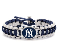 Bracelet { New York Yankees } Paracord. Blue. White. Buckle clasp. Unisex. - Stacy's Pink Martini Boutique