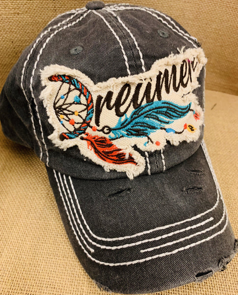 Dreamer hats! Dream catcher • Embroidered - Stacy's Pink Martini Boutique