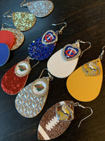 Earrings { Minnesota Twins Baseball } Blue, silver, white, red. Glitter, matte, embossed. Teardrop leather fish hook. - Stacy's Pink Martini Boutique