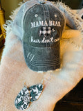 Hats { Mama bear hair dont care } Buffalo plaid, black/white bear • Trucker hat • Distressed • Mom hats • - Stacy's Pink Martini Boutique