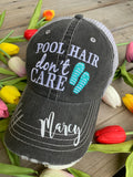 Pool hats Embroidered gray distressed unisex trucker caps Pool hair dont care Pool please Flamingos Flip flops - Stacy's Pink Martini Boutique