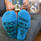 Coffee socks | If you can read this bring me my Starbucks | Socks | Pink, white and gray - Stacy's Pink Martini Boutique