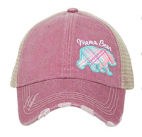Mom Hats { Mama bear } Embroidered, distressed, trucker caps. Assorted styles.  Buffalo plaid. Women's. Adjustable. - Stacy's Pink Martini Boutique