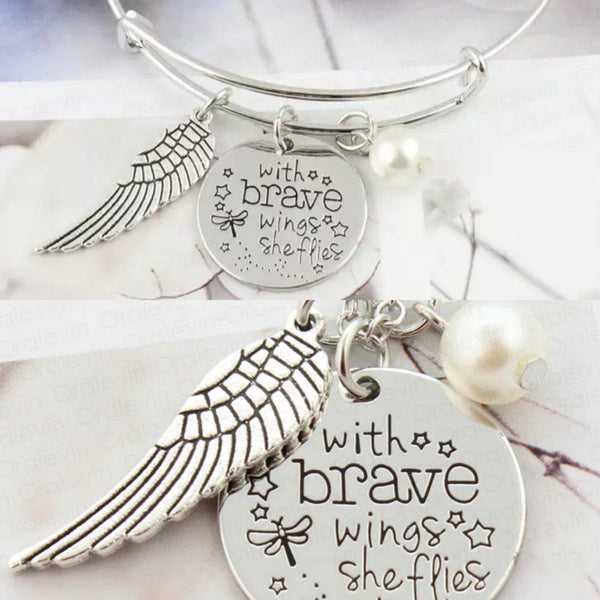 With brave wings she flies Jewelry Necklace, bracelet or key chain Stainless steel - Stacy's Pink Martini Boutique