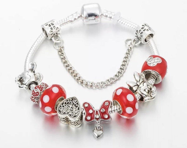 Bracelet { Minnie Mouse } Bow. Silver. Red. Dots. Hearts. Mickey Mouse. Glass beads. Safety chain. FREE ship in USA on this item! - Stacy's Pink Martini Boutique