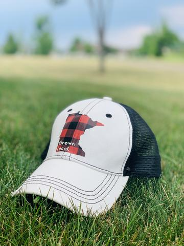 Hat. Minnesota. Grown local. White hat with red and black buffalo plaid state. Adjustable. Unisex. Trucker cap. MN. Sota. - Stacy's Pink Martini Boutique