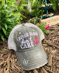 Hat. River hair dont care. Gray with pink anchor. 1 left! $10 hat sale! - Stacy's Pink Martini Boutique