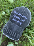 Hats & clothing { Hold my drink I gotta pet this dog } Embroidered • distressed • Trucker cap - Stacy's Pink Martini Boutique