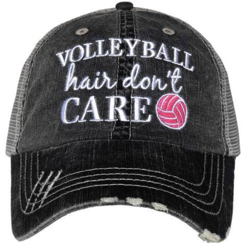Hat { Volleyball hair don't care } Embroidered • Distressed trucker cap • Unisex - Stacy's Pink Martini Boutique