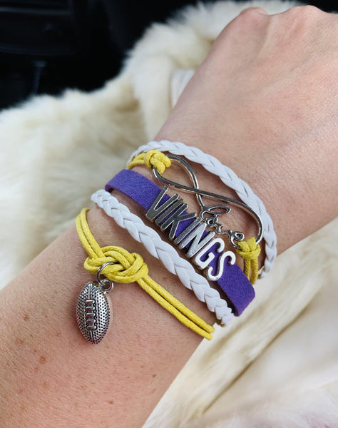 Bracelet { Minnesota Vikings } Unisex • Purple, white and gold • Adjustable lobster clasp with extender • Football • Infinity symbol with love - Stacy's Pink Martini Boutique