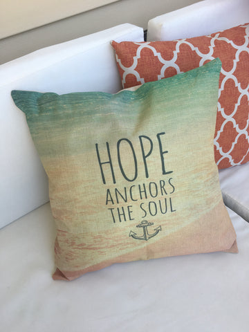 Pillow cases and pillows Hope anchors the soul Home is where the anchor drops Sleeping with sirens 17 x 17 burlap zipper closure pillow covers - Stacy's Pink Martini Boutique