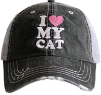 Hats and shirts { Dog mother, Wi.ne lover } { Cat mother, Wi.ne lover } { I love my dog } { I love my cat } { Pawsitive vibes only } Embroidered distressed trucker. - Stacy's Pink Martini Boutique