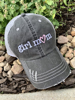 Boy mom • Girl mom • Hats • Embroidered distressed womens trucker caps - Stacy's Pink Martini Boutique