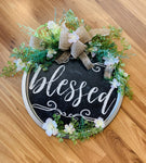 Sign • Blessed • 12 inch round • Rope hanger - Stacy's Pink Martini Boutique