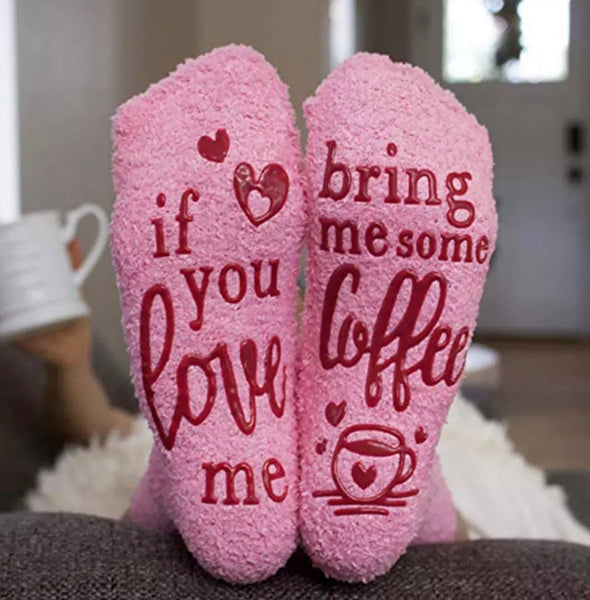 Socks. If you love me bring me some coffee. If you love me bring me some wine. If you love me bring me some chocolate. Pink. Fluffy. Hearts. - Stacy's Pink Martini Boutique