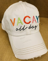 Vacation hats! Vacay all day • White • Embroidered - Stacy's Pink Martini Boutique