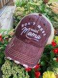 Mom hats! Dont mess with Mama | Embroidered distressed womens trucker cap | 4 colors!  Black • Wine • Light pink • Teal | Mama bear | Mommin ain't easy | Tired as a mother