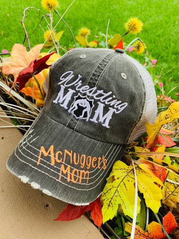 Hats { Wrestling mom } Gray. Personalize with names and numbers. Choose vinyl color. Embroidered distressed trucker cap. - Stacy's Pink Martini Boutique