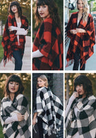 Poncho scarf { Plaid check } Red and black or white and black. 52 x 63. Free ship in US! - Stacy's Pink Martini Boutique
