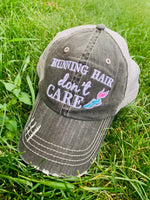 Running hair dont care hat | Embroidered distressed trucker cap - Stacy's Pink Martini Boutique