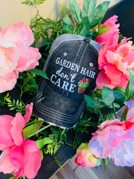 Garden hats | Garden hair dont care | Embroidered trucker - Stacy's Pink Martini Boutique