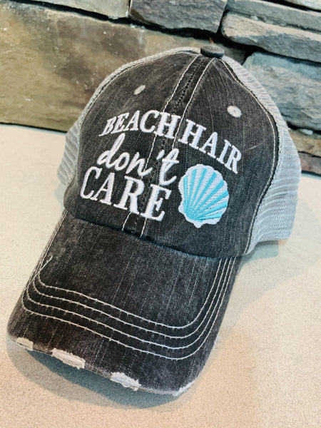 Beach hats! Beach hair don't care • Gray trucker cap • Distressed • Adjustable • Seashell - Stacy's Pink Martini Boutique
