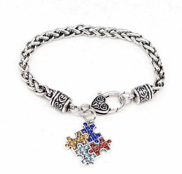 Bracelet { Autism } Puzzle pieces • Heart lobster claw clasp • Silver •  Rhinestones - Stacy's Pink Martini Boutique