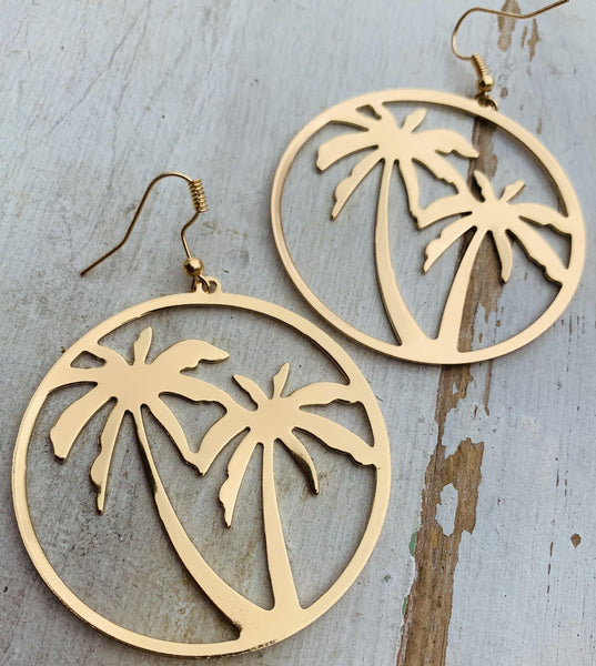 Earrings • Palm trees • Gold • Tropical vacation jewelry - Stacy's Pink Martini Boutique