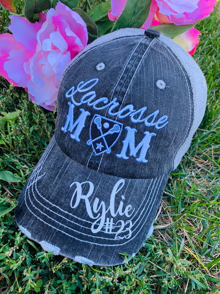 Lacrosse hats! Lacrosse mom • Lacrosse hair dont care • Embroidered womens trucker caps - Stacy's Pink Martini Boutique