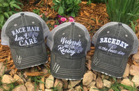 Race hats! Weekends are for racing | Race hair dont care | Raceday is the best day | Unisex gray trucker caps | Add names, numbers, bling! - Stacy's Pink Martini Boutique