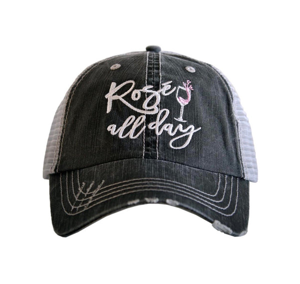 Hat { Rose all day } Gray • Embroidered letters and wine glass • Distressed trucker cap • Adjustable Vel cro with hole for pony - Stacy's Pink Martini Boutique