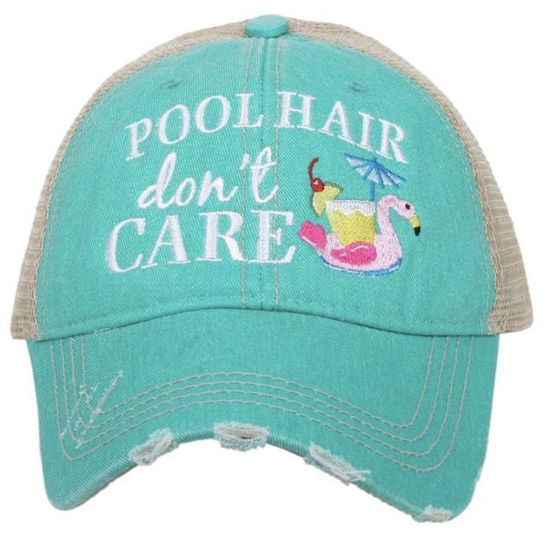 Hats { Pool hair dont care } Teal or Pink. Flamingo holding drink, straw, cherry. Embroidered distressed trucker caps, Adjustable velkro, hole for pony. - Stacy's Pink Martini Boutique
