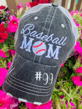 Baseball mom hats | Embroidered women's gray distressed trucker | Personalize | Baseball hats | Baseball jewelry - Stacy's Pink Martini Boutique