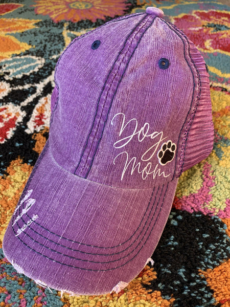Dog hats!  { Dog mom } Assorted colors • Distressed trucker caps • Paw is embroidered. - Stacy's Pink Martini Boutique