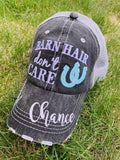 Barn Hats • Barn hair don't care • Personalize • FREE SHIP & FREE jewelry! TEAL, PINK, WHITE horseshoe • Embroidered • Distressed • Horses -
