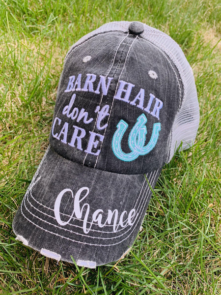 Barn Hats • Barn hair don't care • Personalize • FREE SHIP & FREE jewelry! TEAL, PINK, WHITE horseshoe • Embroidered • Distressed • Horses - Stacy's Pink Martini Boutique