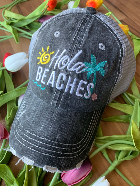Hola beaches hats! | Womens embroidered trucker cap | Gray distressed adjustable | Personalize | Beach hats | Cute palm trees, sunshine, waves and seashell | Girls