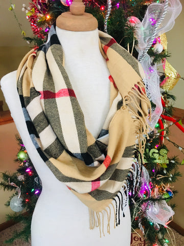 Scarf { Plaid, classic check, camel } Long. Tie end to make infinity. - Stacy's Pink Martini Boutique
