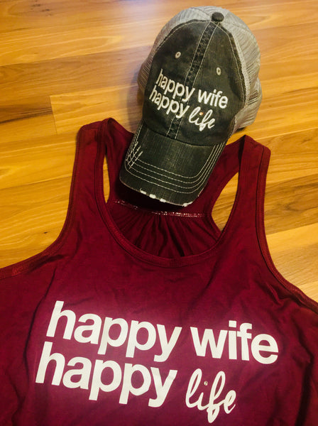 Hats OR tanks { Happy wife happy life } Assorted colors and styles. 1 in stock Maroon tank on CLEARANCE $12. XL. - Stacy's Pink Martini Boutique