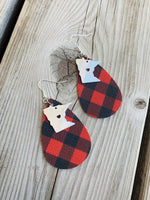 State earrings | Buffalo plaid-Sterling silver charm | Any state | Handmade in Minnesota | Leather teardrops with fish hooks - Stacy's Pink Martini Boutique