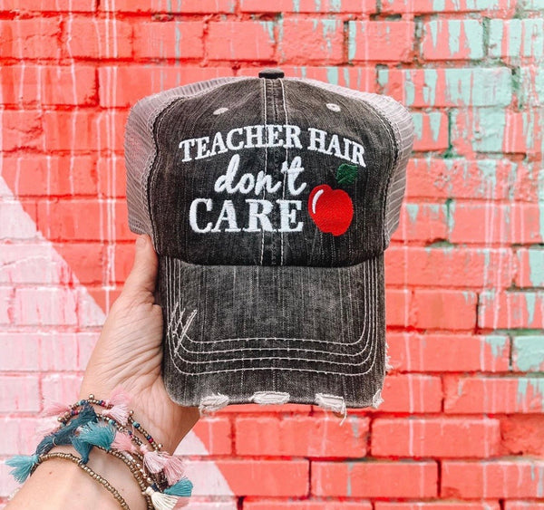 Teacher hats and socks. Teach. Teacher hair dont care. Gray distressed trucker cap with adjustable Velcro and hole for pony • Apple. Teach. Inspire. Socks.