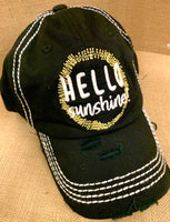 Hello sunshine • Embroidered women's trucker • Black - Stacy's Pink Martini Boutique